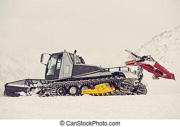 ploeg, ketting, hardloop wedstrijd, sneeuw, zijn, man