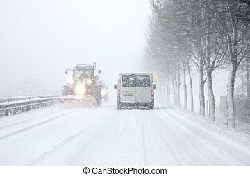 ploeg, nederland, sneeuw, poetsen, wegen, gedurende, ...