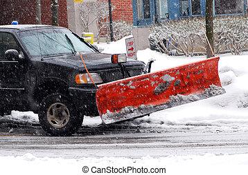 ploeg, sneeuw