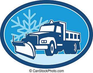 ploeg, vrachtwagen, sneeuw, retro