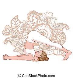 ploeg, yoga, pose., silhouette., halasana, vrouwen
