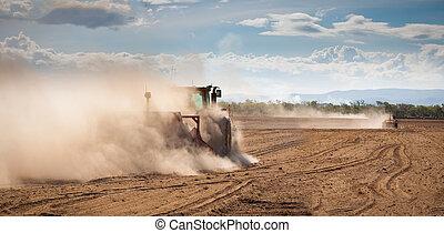 ploegen, land, droog, tractor