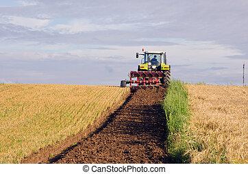 plog, traktor, land, skördat, fält, lantbruk