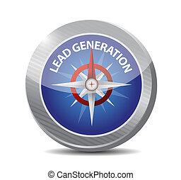 plomb, génération, compas, illustration, conception