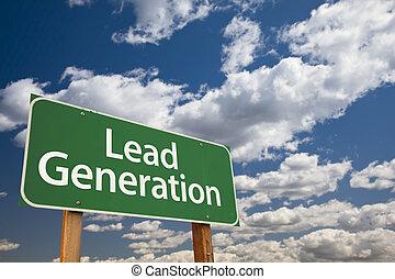 plomb, génération, sur, ciel, signe, vert, route