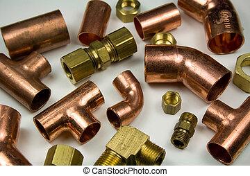 plomberie, cuivre, laiton, accessoires, &