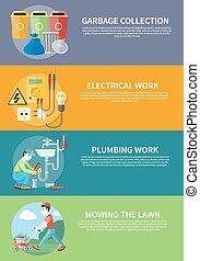 plomberie, pelouse, travail, électrique, fauchage