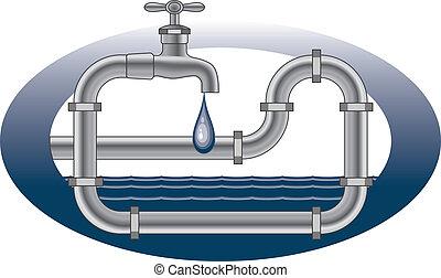 plomberie, robinet, conception, égouttement