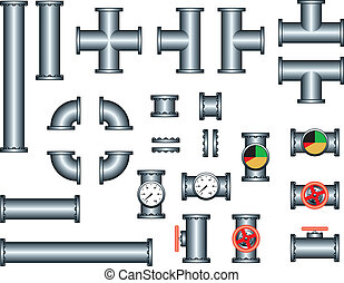 plomberie, tuyau, ensemble construction