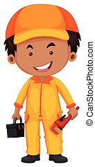 plombier, boîte outils, clé