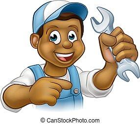 plombier, bricoleur, dessin animé, noir, mécanicien, ou