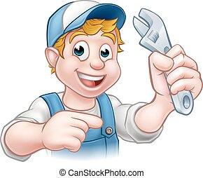 plombier, bricoleur, ou, mécanicien
