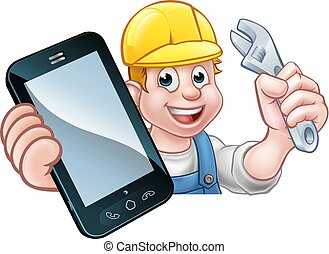 plombier, bricoleur, téléphone, concept, mécanicien