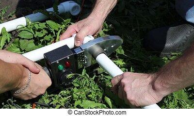 plombier, canaux transmission, plastique, machine, connecter, soudure