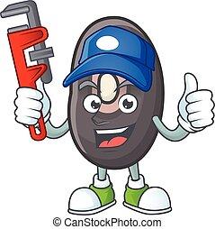 plombier, caractère, haricots, frais, dessin animé, conception, noir, mascotte