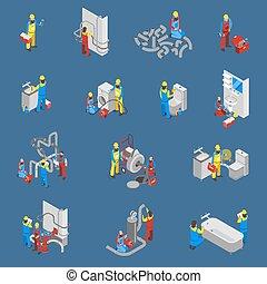 plombier, ensemble, gens, isométrique, icône