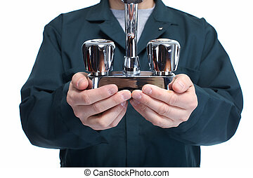 plombier, faucet., mains