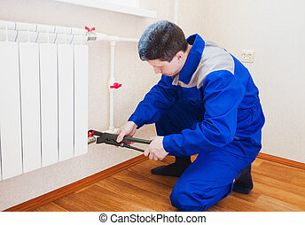 plombier, installation, chauffage, radiateur, exécute