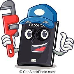plombier, noir, isolé, passeport, dessins animés