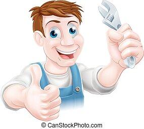 plombier, ou, mécanicien, dessin animé
