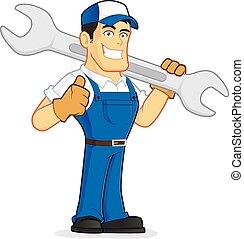 plombier, ou, mécanicien