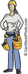 plombier, ou, mécanicien, lignes, bricoleur, croquis, illustration, isolé, vecteur, femelle noire, dessiné, fond, main, blanc