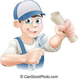 plombier, ou, mécanicien, qualification