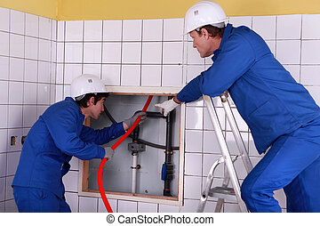 plombier, salle, fonctionnement, deux, repos, public