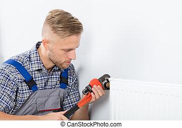 plombier, thermostat, fixation, clé, utilisation, mâle
