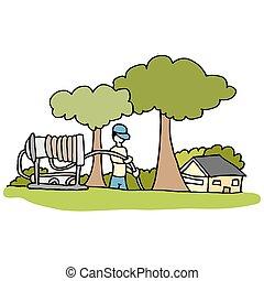plombier, tuyau, yard, fonctionnement, haute pression, devant, maison