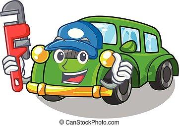 plomero, coche clásico, forma, juguetes, caricatura