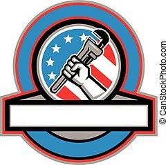 plomero, estados unidos de américa, mano, tubo, bandera, llave inglesa, círculo