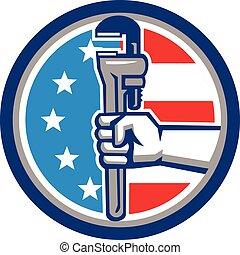 plomero, estados unidos de américa, mano, tubo, bandera, llave inglesa, vertical, círculo, retro