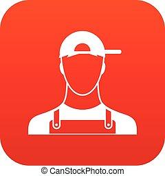 plomero, icono, rojo, digital