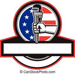 plomero, mano, tubo, bandera, llave inglesa, tenencia, círculo, bandera, retro
