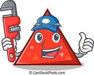 plomero, mascota, estilo, triangel, caricatura