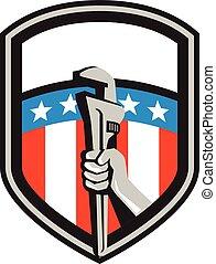 plomero, protector, estados unidos de américa, mano, tubo, bandera, llave inglesa, retro
