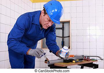 plomero, ser aplicable, gris, pipa plástica, pegamento