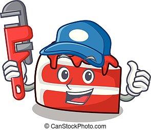plomero, terciopelo, caricatura, rojo, mascota