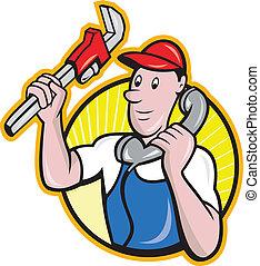 plomero, trabajador, con, llave ajustable, teléfono
