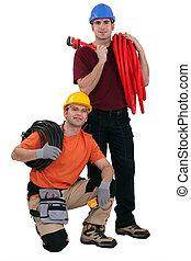 plomero, y, electricista