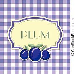 plommon, etikett