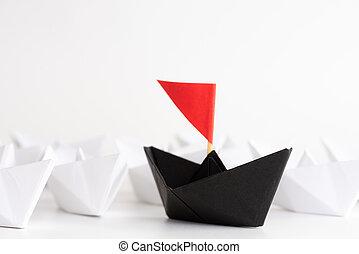 plomo, concept., uno, plomos, otro, ships., papel, liderazgo, barco, líder, rojo, white.