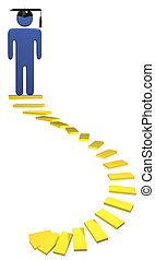 plomo, espiral, graduación, estudiante, educación, escaleras