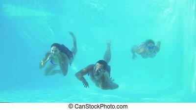 plongée, amis, trois, natation