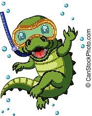 plongée,  crocodile, dessin animé, mignon