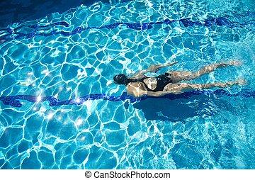 Nager brasse bleu femme maillot de bain eau piscine for Crystal water piscinas
