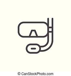 plongée, ligne, masque, scaphandre, icône