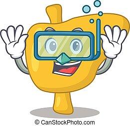 plongée, nage, lunettes, conception, foie, mascotte