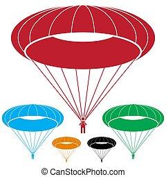 plongée, parachutiste, parachute, ciel, homme, icône